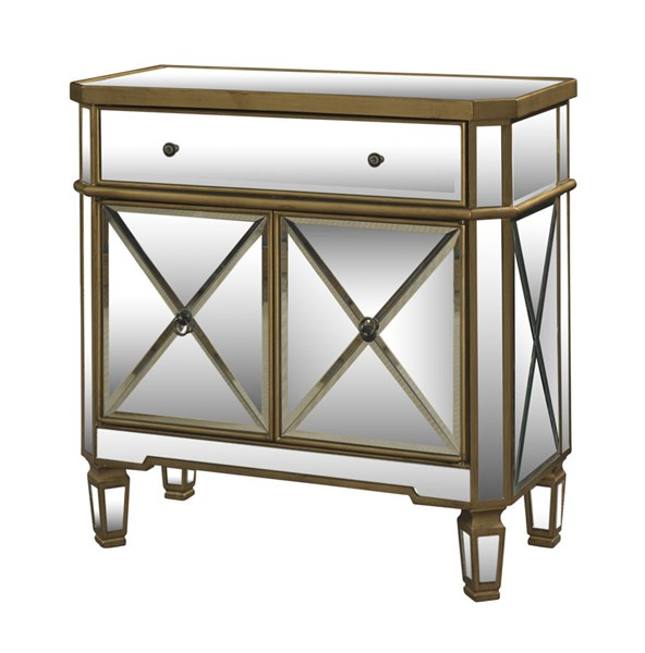 MDF Gold & Mirrored Console w/1 Drawer 2 Doors PWL-427-933