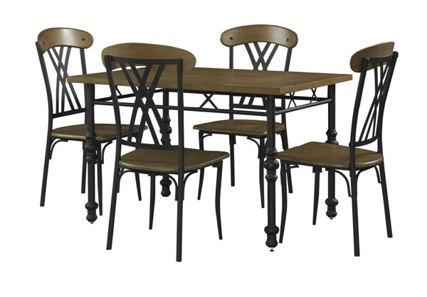 Simon Collection Black Metal Base MDF Top 5pc Dining Set PWL-430-4172