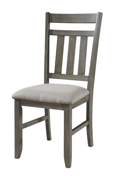 2 Turino Traditional Grey Oak Wood MDF Tan Fabric Dining Side Chairs PWL-457-434X