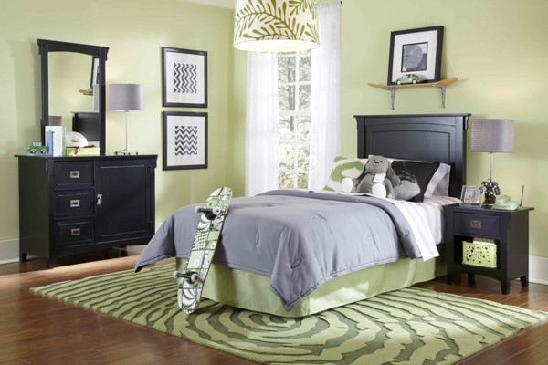 Youth Black Local Solid Wood Antique Bronze Hardware Bedroom PWL-502-189