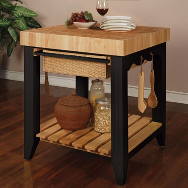 Color Story Black Natural MDF Rubberwood Rattan Kitchen Island PWL-502-416