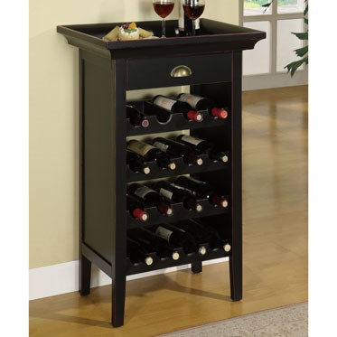 Black Merlot MDF Rub Through Wine Cabinet PWL-502-426