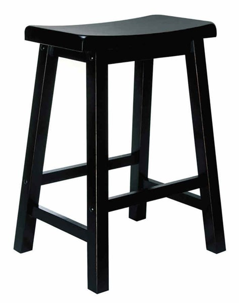 Classic Antique Black Rubberwood 24 Inch Seat Height Counter Stool PWL-502-430