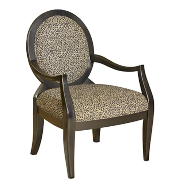 Classic Seating Black Birch Wood Leopard Fabric Oval Back Accent Chair PWL-502-622