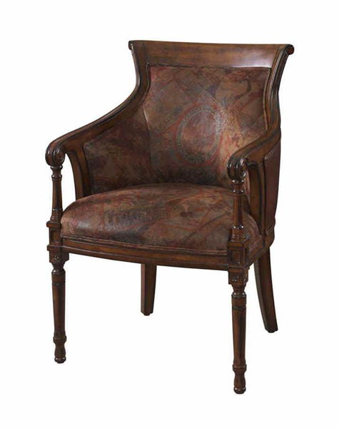 Traditional Brown Wood Framed Worldly Accent Chair PWL-566-620