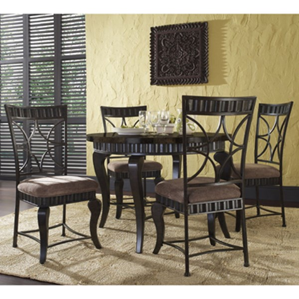 Wayland Metal Fabric Faux Marble 5pc Dining Set PWL-567-413M1