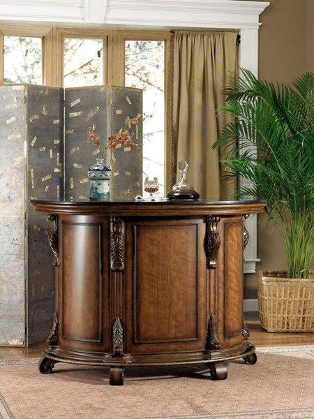 Bourbon Street Traditional Cherry Solid Wood MDF Black Granite Top Bar PWL-579-9202