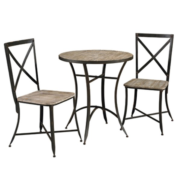 Wood Metal Round Table & 2 Side Chairs w/Driftwood Color PWL-602-483