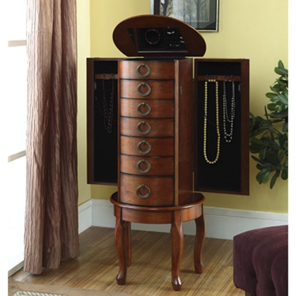Modern Woodland Cherry MDF Rubberwood Mirror Jewelry Armoire PWL-605-318