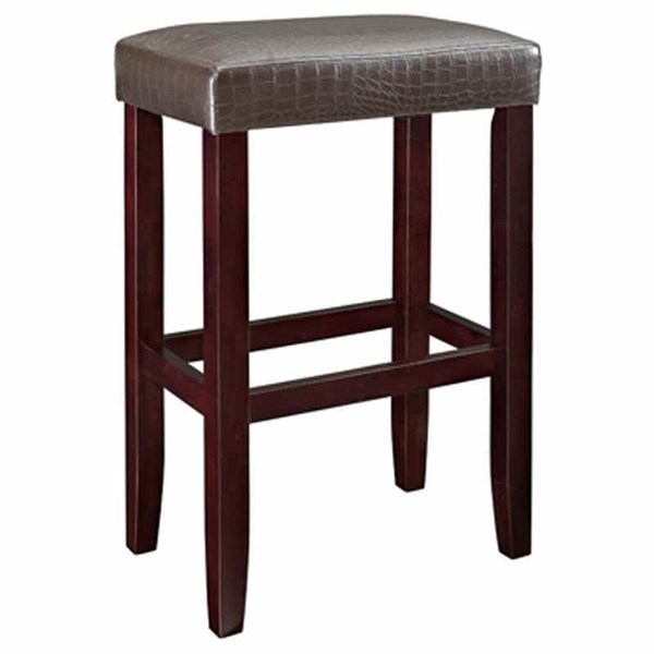 2 Espresso Brown Faux Leather PU Wood Backless & Armless Barstools PWL-631-431