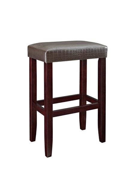 2 Powell Cafe Collection Espresso Brown Faux Leather Barstools PWL-631-431X