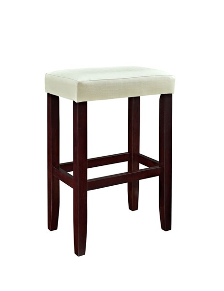 2 Powell Cafe Collection Espresso White Faux Leather Barstools PWL-631-456X