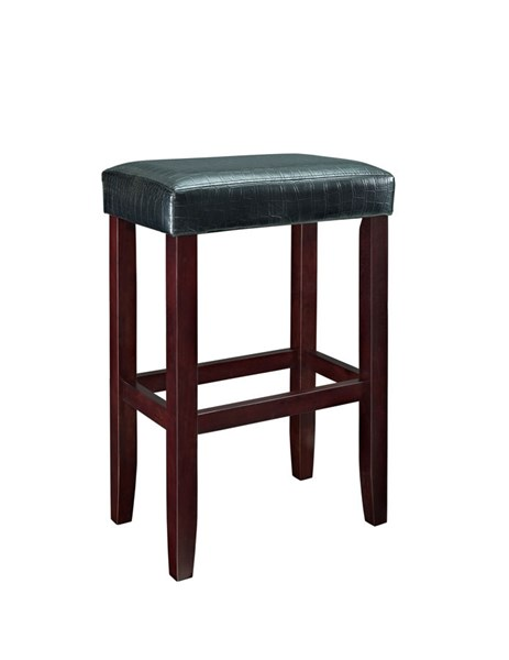 2 Powell Cafe Collection Espresso Black Faux Leather Barstools PWL-631-727X