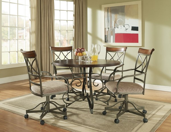 Hamilton Cherry MDF Pewter Metal Dining Room Set PWL-697-413-DR