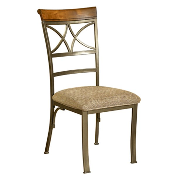 2 Hamilton Medium Cherry Beige Fabric Wood Metal Dining Chairs PWL-697-434