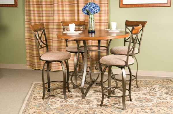 Hamilton Cherry MDF Pewter Oak Fabric 5pc Counter Height / Bar Set PWL-697-441M1