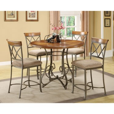 Hamilton Cherry MDF Pewter Metal Oak Fabric 5pc Gathering Set PWL-697-441M3