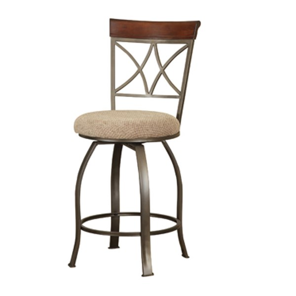 Powell Cafe Cherry Fabric Wood Metal Hamilton Swivel Counter Stool PWL-697-726