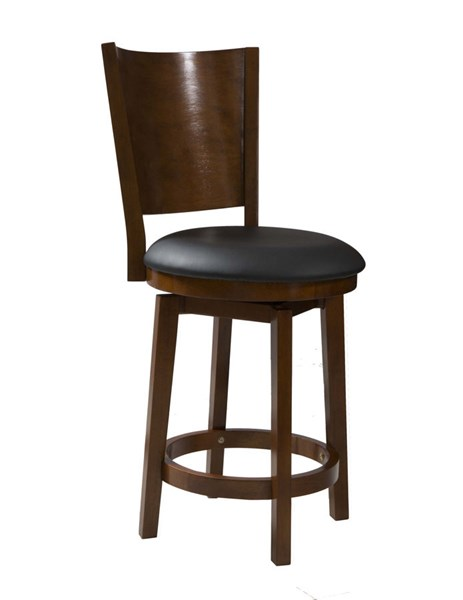 Big & Tall Cherry PU Rubberwood Solid Back Wood Counter Stool PWL-697-889