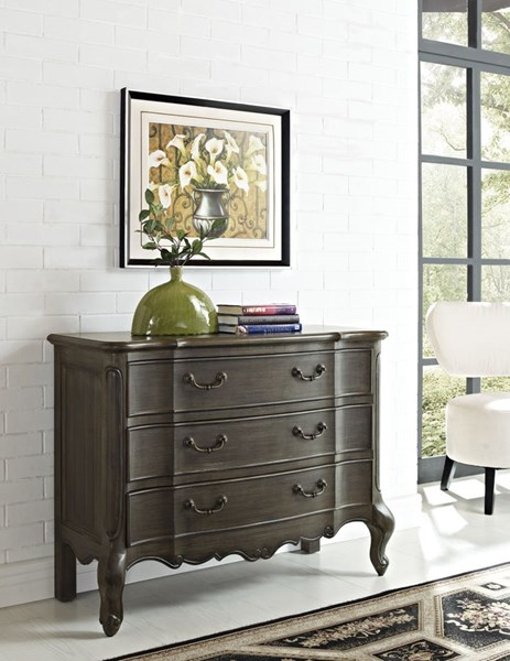 Dark Gray MDF Rectangle 3 Drawers Rectangle Chest PWL-711-018