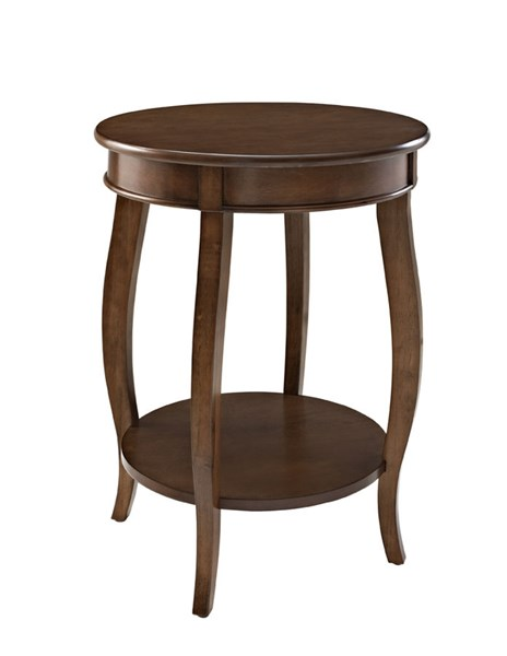 Powell Furniture Dark Hazelnut Round Table with shelf PWL-713-352