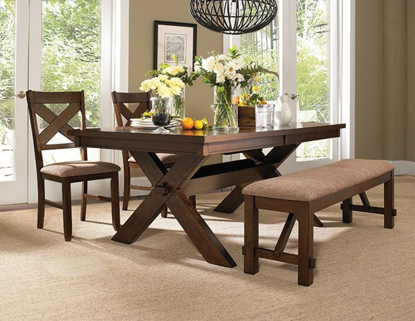 Kraven Dark Hazelnut Acacia Rubberwood Fabric 4pc Dining Room Set PWL-713-417M4