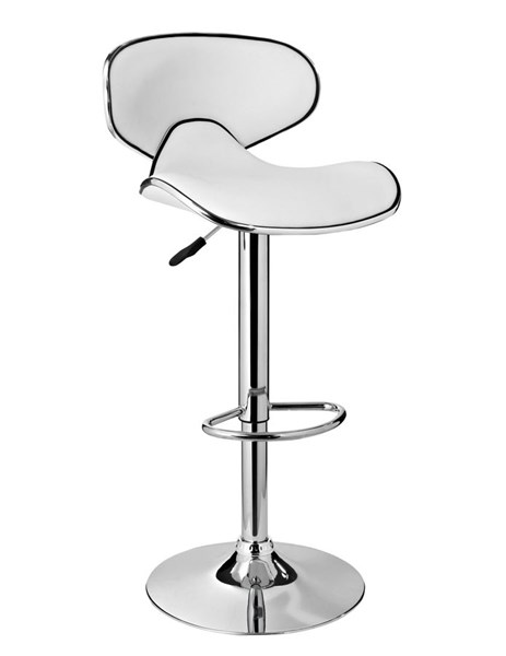 Contemporary White Faux Leather Chrome Base Metal Adjustable Bar Stool PWL-736-890