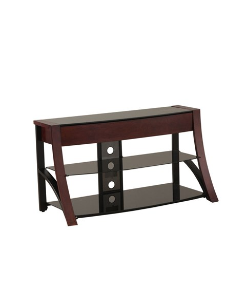 Media Console Black Wood MDF Glass Open Storage TV Stand PWL-817-833
