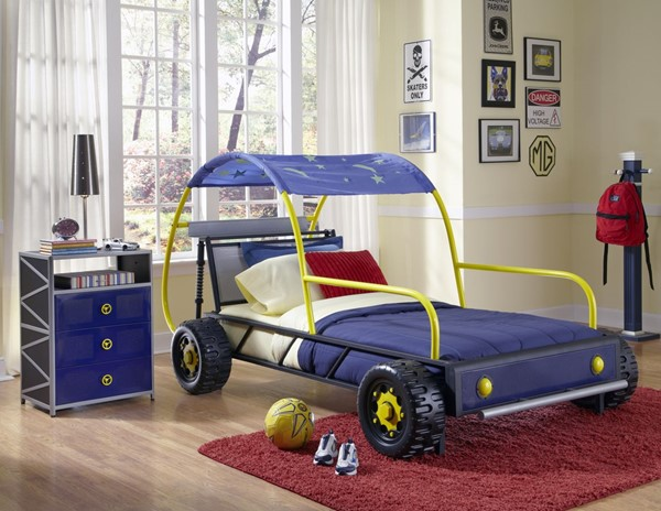Dune Buggy Blue Silver Black Yellow Metal 9 Slats Car Twin Bed PWL-904-038