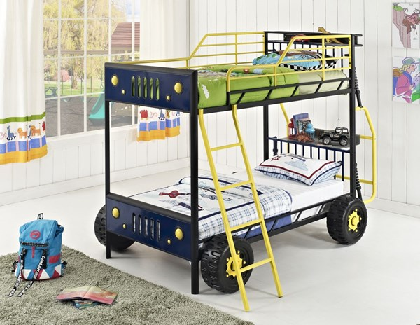 Youth Beds/Bunks Yellow Blue Metal Dune Buggy Twin Bunk CTN-2 PWL-904-1382