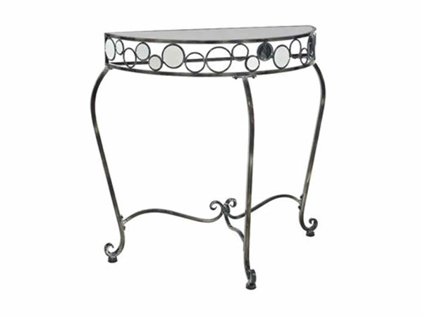 Gloss Metal Reflections Half Round Console Table PWL-928-225