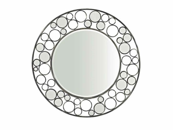 Reflections Gloss Metal Beveled Glass Round Mirror PWL-928-233