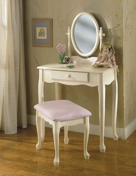 Off White Rubberwood MDF Pink Fabric Mirror Vanity Set PWL-929-290