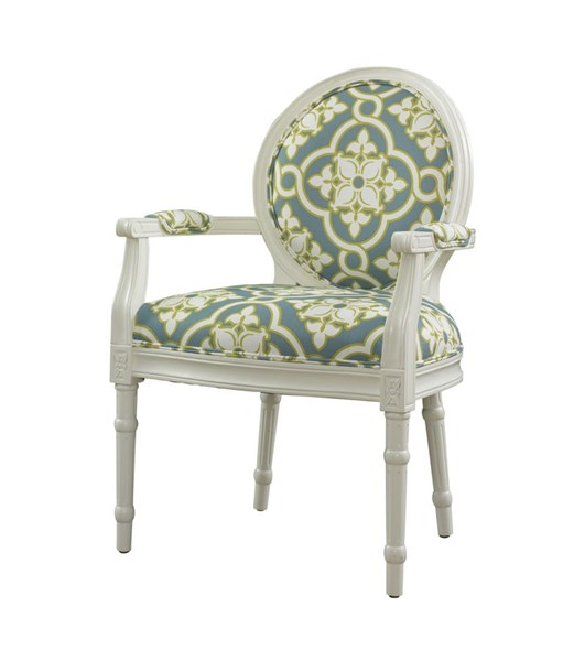 Parsons Collection Classic White Wood Teal Fabric Ghost Chair PWL-929-630