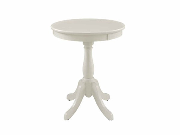 Contemporary White MDF Solid Wood Round Accent Table PWL-929-711
