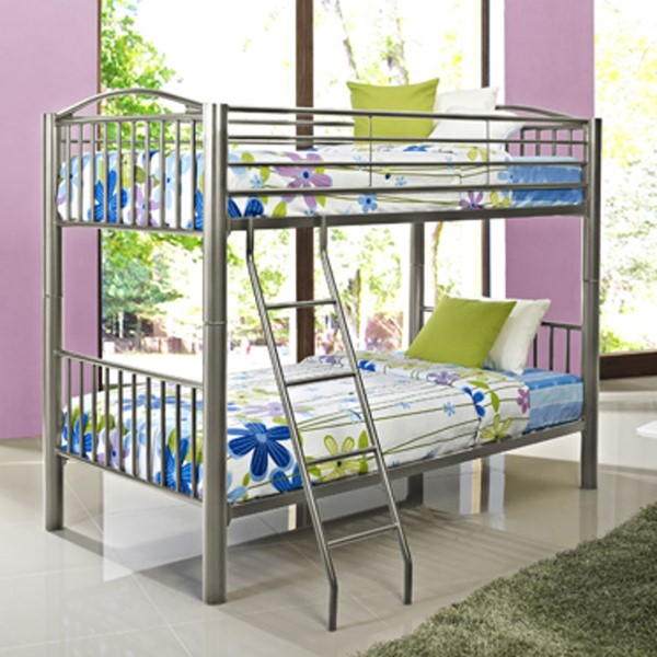 Youth Transitional Pewter Heavy Metal Twin Over Twin Bunk Bed PWL-941-138