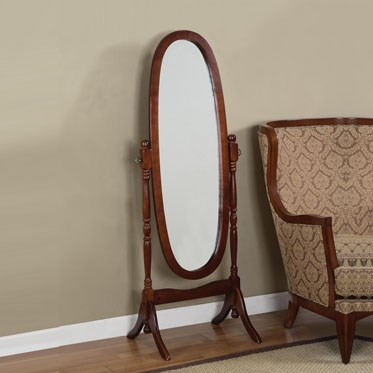 Cherry Rubberwood MDF Tilt Oval Cheval Mirror PWL-978