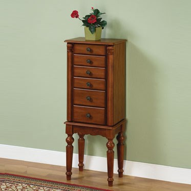 Lightly Distressed Deep Cherry Wood Jewelry Armoire PWL-987-317