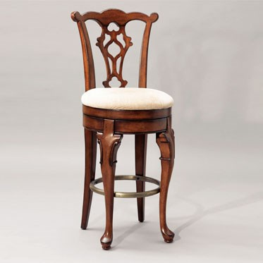 Jamestown Landing Cherry Birch Wood Beige Fabric Armless Bar Stool PWL-987-729