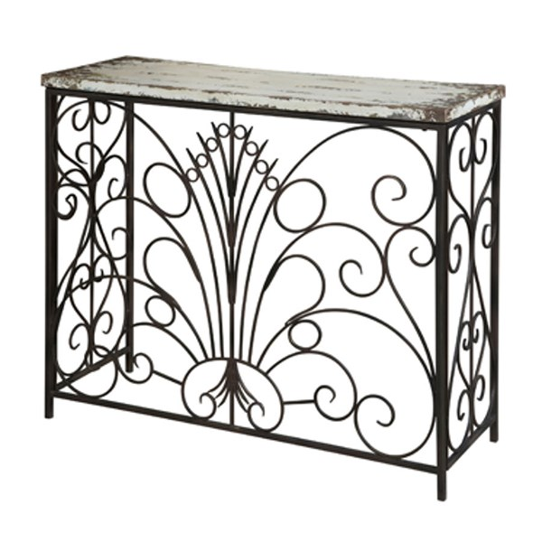 Parcel Rustic Layered Antique White MDF Iron Console Table PWL-990-225