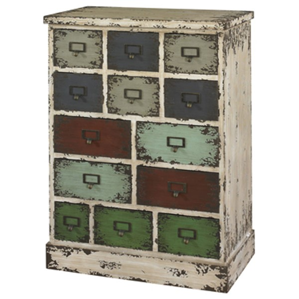 Parcel Distressed White Metal Wood 13 Drawers Cabinet PWL-990-333