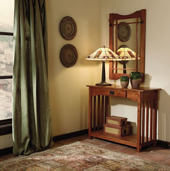 Mission Oak Classic Ash Wood Particleboard MDF Console and Mirror PWL-993-289T2