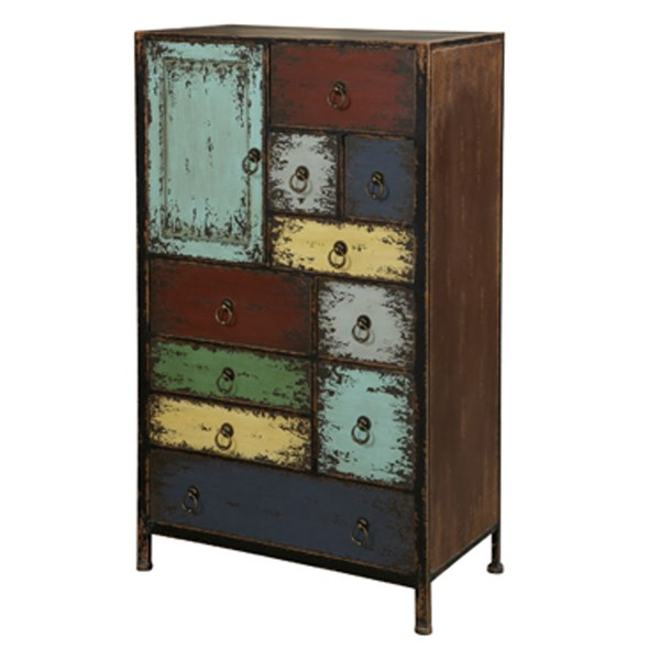 Parcel Layered Antique MDF Cinnamon 1 Door & 10 Drawers Accent Chest PWL-994-331