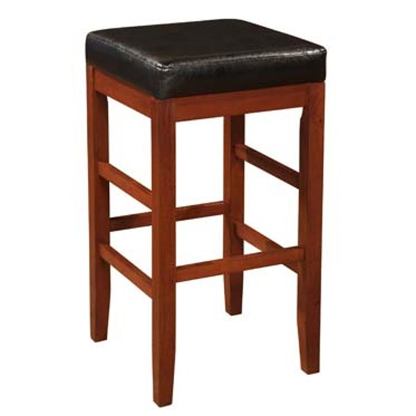 Cherry Black Faux Leather Wood Square Backless Bar Stool PWL-998-432