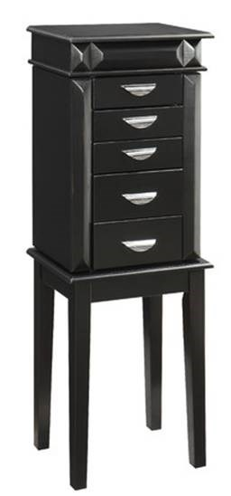 Black Solidwood MDF Veneer Jewelry Armoire PWL-CST7476