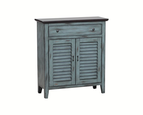 Antique Blue Distressed Brown Top MDF PB Two Tone Shutter Door Cabinet PWL-14A2046