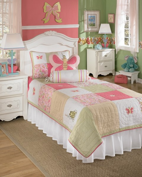 Adeline Youth White Pink Fabric 5pc Twin Set Q219001T