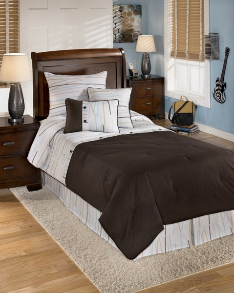 Stickly Youth Brown White Fabric Twin TOB Set Q305001T