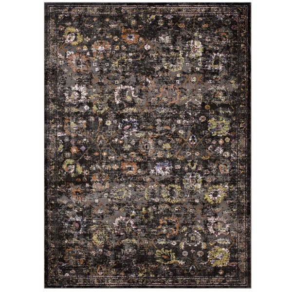 Modway Furniture Minu Black Distressed Floral Lattice Area Rug - 5 x 8 R-1091A-58