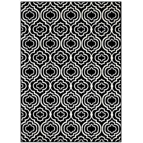 Modway Furniture Frame Black White Moroccan Trellis Area Rug - 8 x 10 R-1130A-810